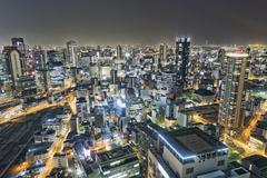 Osaka city night Stock Photos