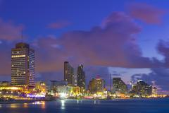 Tel Aviv Cituscape At Sunset - View From Sea To Beachfront - stock photo