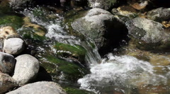 Tight Shot Stream Cascading Down Over Mossy Rock Stock Footage