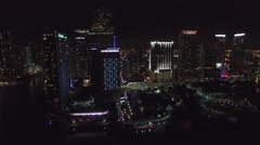 Downtown Miami at Night Aerial View Stock Footage