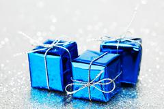 Blue holiday gifts Stock Photos