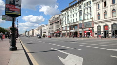 View on the Nevsky Prospect in St. Petersburg, Russia Stock Footage