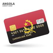 Credit card with Angola flag background for bank, presentations and business Stock Illustration