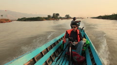 Floating Gardens Inle Lake Sunrise Speedboat Stock Footage