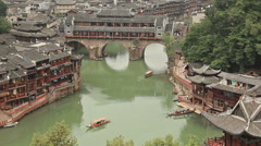 Historic Center Fenghuang Boats Stock Footage