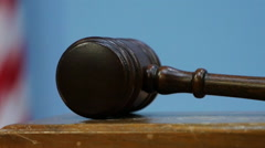 Gavel Forcefully Striking Sound Block in Courtroom, Close Up Stock Footage