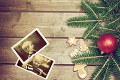 Two vintage photos with positive emotions of two boys Stock Photos