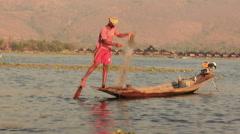 Leg-rowing Fisherman Nets Inle lake - stock footage