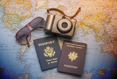 Passports to world travel - stock photo
