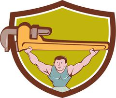 Plumber Weightlifter Monkey Wrench Crest Cartoon - stock illustration