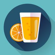 Juice glass. Flat designed style icon. Stock Illustration