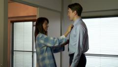 Married Couple Asian Wife Helping Husband With Tie Business Dress Arkistovideo