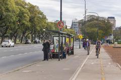 Stop Bus at Libertador Avenue in Buenos Aires Stock Photos
