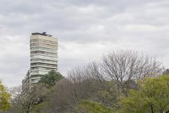 Modern Buildings and Trees in Buenos Aires Argentina - stock photo