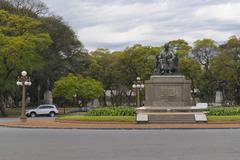 Stock Photo of Empty Park and Street in Buenos Aires Argentina
