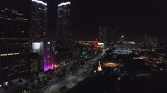 Downtown Miami at Night aerial view 4K Stock Footage