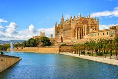 Gothic medieval cathedral of Palma de Mallorca, Spain Stock Photos