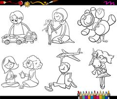 Stock Illustration of kids and toys coloring page