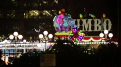 Christmas funfair: carousel at night in England, Europe - stock footage
