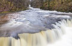 Top of Sgwd y Bedol Falls, waterfall. Pontneddfechan, Vale of Neath, Powys, W - stock photo