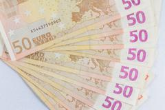 Fifty €50 Euro notes fanned out. Stock Photos