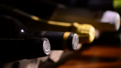 Stock Video Footage of Bottles of wine and champagne in a special cellar