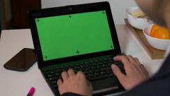 Pc Computer Green Screen Monitor Businesswoman Working Typing On Keyboard Arkistovideo