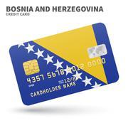 Credit card with Bosnia and Herzegovina flag background for bank, presentations - stock illustration