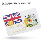 Stock Illustration of Credit card with British Antarctic Territory flag background for bank