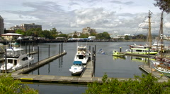 A pan to the left of the marina in Victoria, B.C. Stock Footage