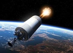 Space Station Launch Orbiting Earth - stock photo