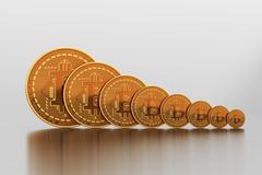 Bitcoins Vary In Size - stock photo