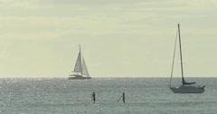 Boat sailing in ocean Stock Footage