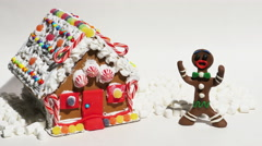 Gingerbread Man Showing His House Stop Motion Animation, 4K Stock Footage
