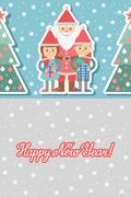 Illustration of Santa Claus with children. Greeting card Stock Illustration