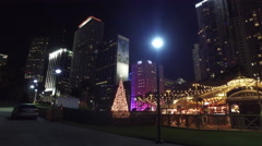 Downtown Miami at Night during Christmas Stock Footage