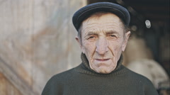 Homeless old village man Stock Footage