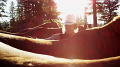 USA female Cowboy grooming horse Dude Ranch Wild west travel - stock footage