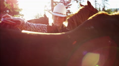 American female Cowboy grooming horse on Dude Ranch - stock footage