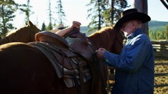 Canada male horse Rider on Dude Ranch saddling horse Stock Footage