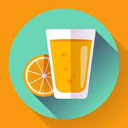 Juice glass. Flat designed style icon. - stock illustration