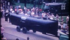 2935 - Confederate States submarine The Hunley in parade-vintage film home movie Stock Footage