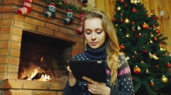 Computer tablet for Christmas Stock Footage