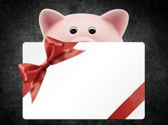 card gift with piggy bank, red ribbon bow, Isolated on black background - stock illustration