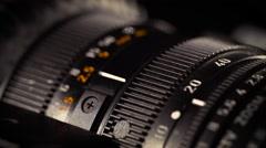 Macro of Camera Lens, zoom, iris, focus ring Stock Footage