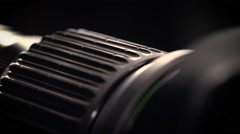 Macro of Camera Lens, focus ring Stock Footage