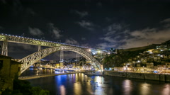 Timelapse The Dom Luis I Bridge is a metal arch bridge that spans the Douro Stock Footage