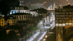 City of Porto by night timelapse in Portugal, the Old Town and Ponte Dom Luiz I Stock Footage