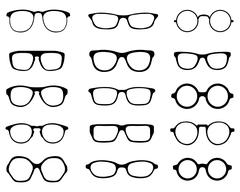silhouettes of eyeglasses - stock illustration