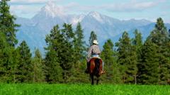 Male horse rider on Kootenay Mountain Range - stock footage
